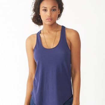 Women's Satin Jersey Shirttail Tank Top Thumbnail
